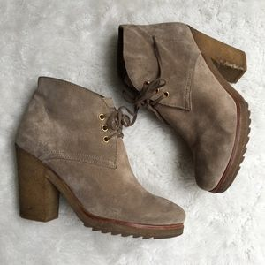 Prada Tan Suede Laced Booties Size 37
